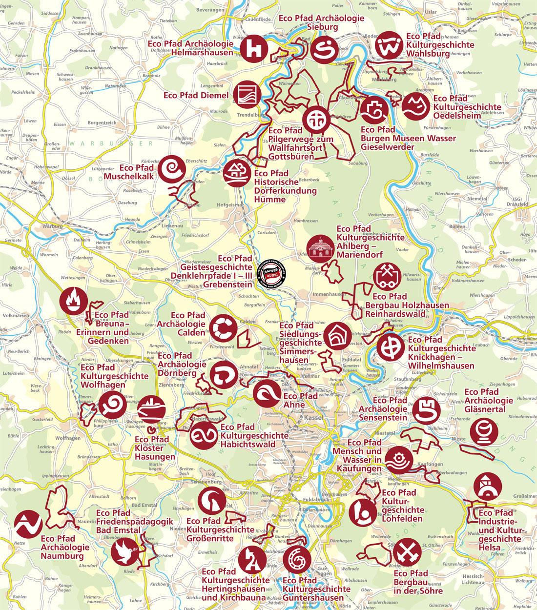Karte Kassel Und Umgebung.Die Eco Pfade Im Landkreis Kassel